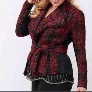 Lane Bryant Red and Black Plaid Tweed Jacket